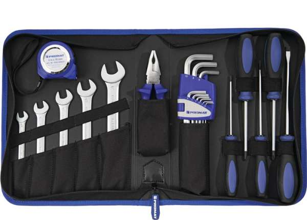 Werkzeugmappe Innen-BxTxHmm 22-tlg.Polyester 500D schwarz/blau PROMAT