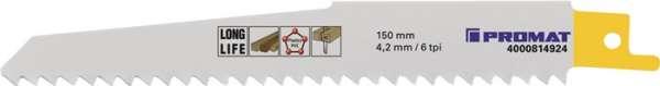 Säbelsägeblatt L.150mm B.19mm TPI 6 4,2mm gefr.,geschr.5 St./Karte PROMAT
