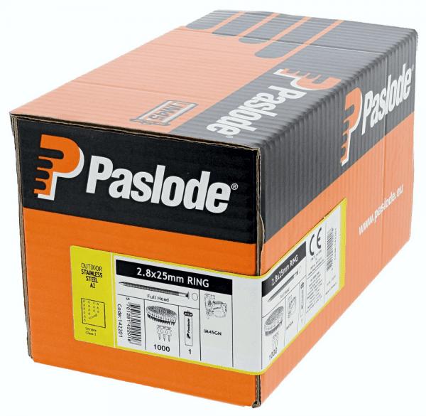Coilnägel GN 0° 2,8 x 25 mm, Edelstahl-WNr.1.4301 (A2) gerillt, 1000 Stck. incl. Gas für Paslode