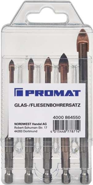 Glas-/Fliesenbohrersatz 5-tlg.D.4,5,6,8,10mm Schaft 6-kant PROMAT