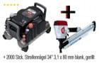 Hitachi Kompressor EC1433 + Max Streifennagler SN 890 CH2/34 + 2000 Stck. Streifennägel 3,1x80 mm