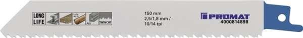 Säbelsägeblatt L.150mm B.19mm TPI 10/14 2,5/1,8mm 5 St./Karte